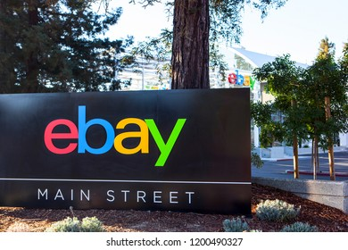 SAN JOSE, CALIFORNIA / USA - October 10, 2018: A logo sign of eBay at headquarters in Silicon Valley. eBay Inc. is an american multinational e-commerce corporation with its original auction-style sale