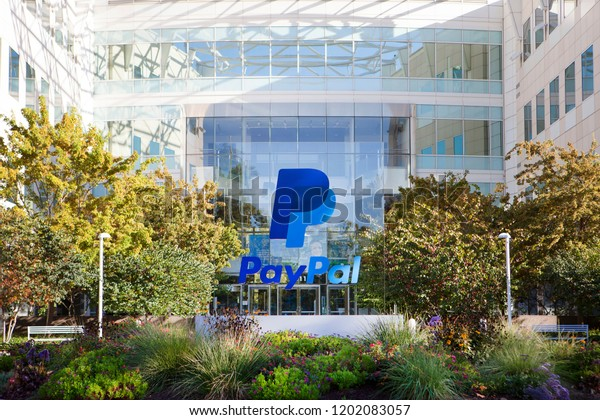 SAN JOSE, CALIFORNIA / USA - October 10, 2018: Exterior view of PayPal headquarters in Silicon Valley. PayPal Holdings, Inc. is an American company operating a worldwide online payments system