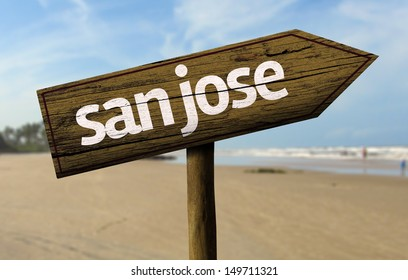 San Jose, California wooden sign with a beach on background