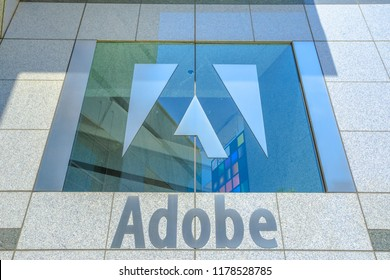 San Jose, California,United States - August 12, 2018:Adobe palace window with logo isolated at Adobe Headquarters. Adobe leader in software for graphic, photography, video making and microstock agency