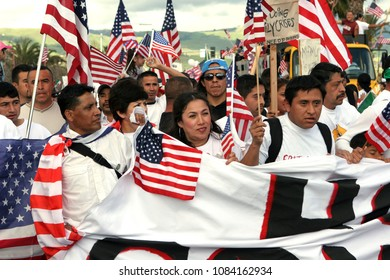 San Jose, CA/USA - April 10, 2006: Mexican Americans march in support of equal rights for immigrants during a rally in San Jose, California.
