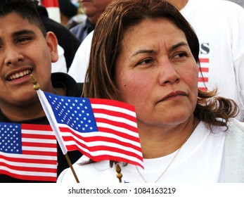San Jose, CA/USA - April 10, 2006: A Mexican American woman marches in support of equal rights for immigrants during a rally in San Jose, California.