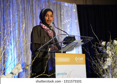 San Jose CA/USA – December 9, 2017: Minnesota State Rep. Ilhan Omar speaking at the Council on American Islamic Relations (CAIR-SFBA), annual banquet.