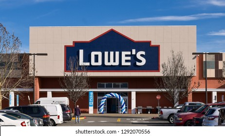 San Jose, CA/USA - Jan. 22, 2019: Lowe's store in San Jose, CA. Lowe's Companies,  Inc. operates a chain of retail home improvement and appliance stores in the US, Canada and Mexico.