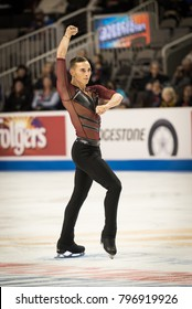 San Jose, CA/U.S.A. - January 4, 2018: Adam Rippon opens his short program at the U.S. National Figure Skating Championships
