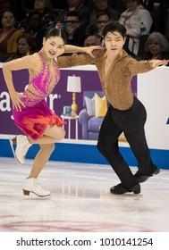 San Jose, CA/U.S.A. - January 5, 2018: Maia and Alex Shibutani perform during the short program at the U.S. National Figure Skating Championships in San Jose