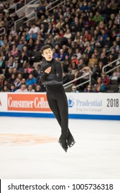 San Jose, CA/U.S.A. - January 6, 2018: Nathan Chen performs during the men's freeskate at the U.S. National Figure Skating Championships