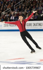San Jose, CA/U.S.A. - January 6, 2018: Vincent Zhou performs during the men's freeskate at the U.S. National Figure Skating Championships