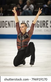 San Jose, CA/U.S.A. - January 6, 2018: Adam Rippon finishes the short program in second place at the U.S. National Figure Skating Championships