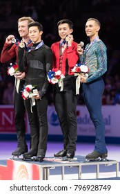 San Jose, CA/U.S.A. - January 6, 2018: Nathan Chen, Ross Miner, Vincent Zhou and Adam Rippon show their U.S. National Figure Skating medals