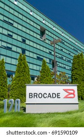 SAN JOSE, CA/USA - JULY 29, 2017: Brocade Corporate Headquarters and logo. Brocade Communications Systems, Inc. specializes in data and storage networking products.