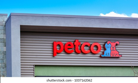 San Jose, CA/USA - Mar. 2, 2018: Company sign and logo of Petco Animal Supplies at their store branch in San Jose, CA.