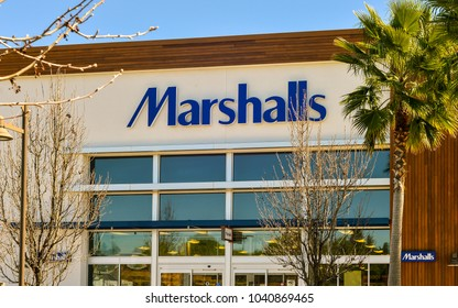 San Jose, CA/USA - Mar. 7, 2018: Facade, Marshalls store branch in San Jose, CA.
