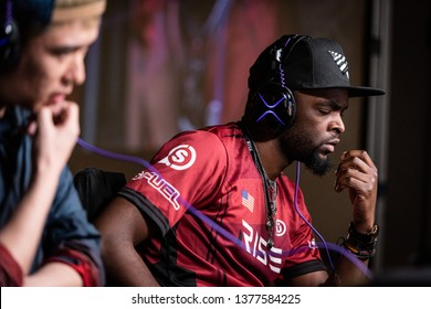 SAN JOSE, CA/USA - MARCH 30, 2019: eSports competitors Smug and Bonchan thinking in between games of Street Fighter V: Arcade Edition SFV match at video game tournament NCR NorCal Regionals.