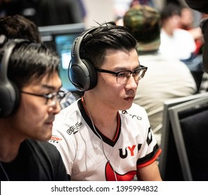 """SAN JOSE, CA/USA - MARCH 30, 2019: eSports competitor Li-Wei """"Oil King"""" Lin versus Bruce """"GamerBee"""" Hsiang in Street Fighter V: Arcade Edition SFV match at video game tournament NCR NorCal Regionals."""
