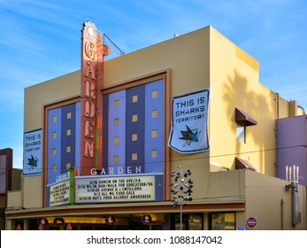 San Jose, CA/USA - May 10, 2018: Facade of the old Garden Theater, now an office/retail mall with marquee and vertical sign intact.