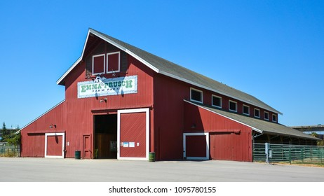 San Jose, CA/USA - May 21, 2018: 4-H Barn at Emma Prusch Farm Park. The Farm Park was donated by Emma Prusch to the City of San Jose in 1962 to use to demonstrate the valley's agricultural past.