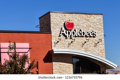 San Jose, CA/USA - Oct. 30, 2018: Applebee's name and logo at it's branch restaurant in San Jose, CA. Applebee's Neighborhood Grill and Bar is a restaurant chain.
