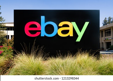 SAN JOSE, CA/USA - OCTOBER 21, 2018: eBay corporate headquarters logo and sign. eBay Inc. is an American multinational e-commerce corporation.