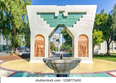 SAN JOSE, CA/USA - OCTOBER 21, 2018: Silva Family Fountain and Cesar Chavez Monument on the campus of San Jose State University.