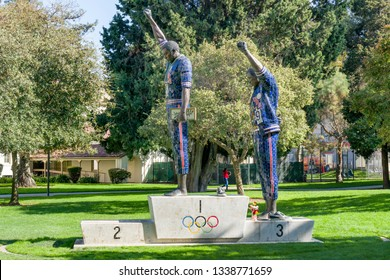 SAN JOSE, CA/USA - OCTOBER 21, 2018: Tommie Smith and John Carlos statue on the campus of San Jose State University.