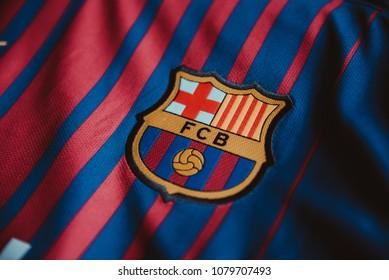 San Jose, Costa Rica - April 29, 2018. - Shield of the FC Barcelona Spanish football club in Jersey.