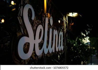 San Jose, Costa Rica. February 2, 2018. Signage for the Selina San Jose Hostel