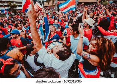 San Jose, Costa Rica - June 20, 2014: Celebrating Costa Rica fans after the results at the 2014 World Cup