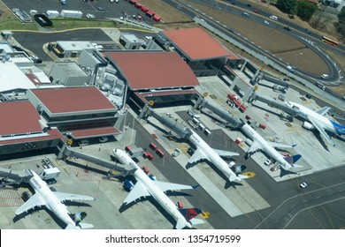 SAN JOSE, COSTA RICA - MAR 11, 2019: aerial view of San Jose international airport in  Costa Rica.