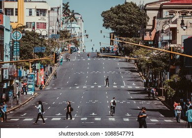 SAN JOSE, COSTA RICA- May 08, 2018: Second Avenue of San Jose, capital of Costa Rica
