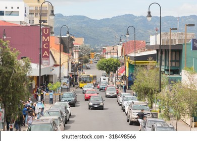 SAN JOSE, COSTA RICA - MAY 17: Panoramic view one of the busiest streets in San Jose downtown, Costa Rica