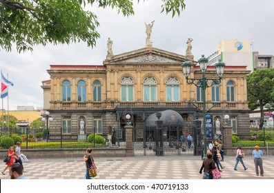 SAN JOSE, COSTA RICA - MAY 17, 2014: National Theatre of Costa Rica in San Jose, Costa Rica on May 17, 2014. The building is located in the central section of San Jose city, Costa Rica