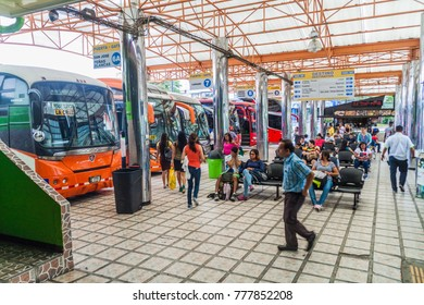 SAN JOSE, COSTA RICA - MAY 14, 2016: View of buses at Gran Terminal del Caribe bus station in the capital San Jose.