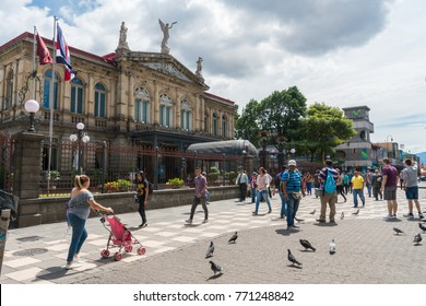SAN JOSE, COSTA RICA - November 12: Afternoon scene of the square in front of the famous National Theater of Costa Rica with local people lifestyle in San Jose in the afternoon of Nov 12, 2017.