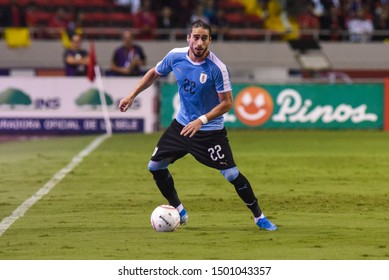 SAN JOSE, COSTA RICA - SEPTEMBER 06 2019: Martin Caceres during friendly match between Costa Rica and Uruguay national teams. Uruguay defeated Costa Rica 1-2.