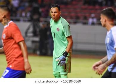 SAN JOSE, COSTA RICA - SEPTEMBER 06 2019: Keylor Navas dufing friendly match between Costa Rica and Uruguay national teams. Uruguay defeated Costa Rica 1-2.