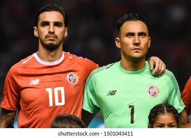 SAN JOSE, COSTA RICA - SEPTEMBER 06 2019: Keylor Navas and Bryan Ruiz during friendly match between Costa Rica and Uruguay national teams. Uruguay defeated Costa Rica 1-2.