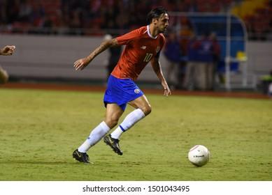 SAN JOSE, COSTA RICA - SEPTEMBER 06 2019: Bryan Ruiz during friendly match between Costa Rica and Uruguay national teams. Uruguay defeated Costa Rica 1-2.