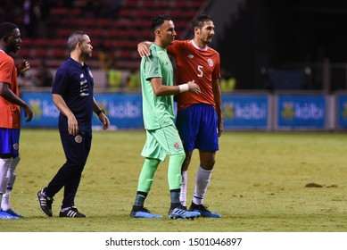 SAN JOSE, COSTA RICA - SEPTEMBER 06 2019: Keylor Navas and Celso Borges during friendly match between Costa Rica and Uruguay national teams. Uruguay defeated Costa Rica 1-2.