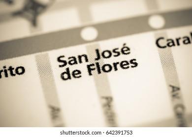 San Jose de Flores Station. Buenos Aires Metro map.