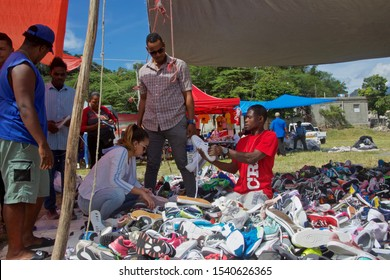 San Jose De Ocoa, Dominican Republic, October 24, 2019. outdoor Haitian market selling clothes and shoes.