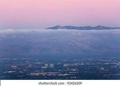 San Jose, the heart of Silicon Valley, seen at dusk with the Diablo mountain range in background