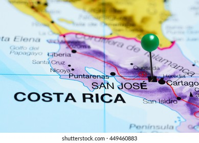 San Jose pinned on a map of Costa Rica