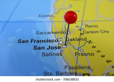 San Jose pinned on a map, city of California