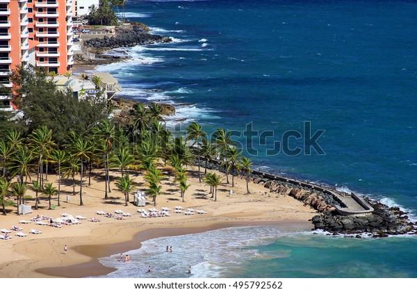 San Jose, Puerto Rico - May 10, 2014 - aerial view of coastline and beach