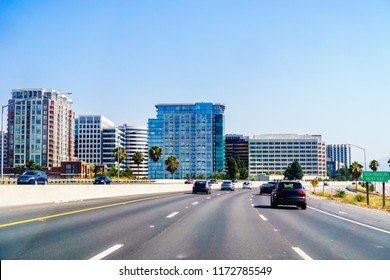 San Jose skyline as seen from the nearby freeway, Silicon Valley, California