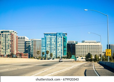 San Jose skyline while driving on the freeway, Silicon Valley, California