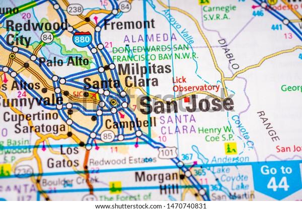 san jose usa map San Jose Usa Map Atlas Travel Stock Photo Edit Now 1470740831