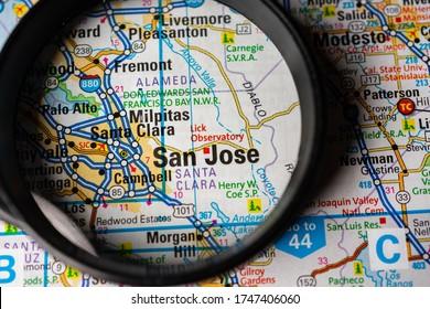 San Jose USA travel map background