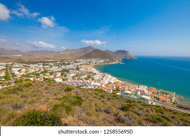 San Jose village, from top of mountain, in Gata Cape Natural Park (Cabo de Gata in Spanish), wild and beautiful famous destination, in Almeria (Andalusia, Spain, Europe)